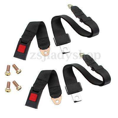 2x Adjustable Universal Travel Two 2 Point Car Truck Safety Seat Lap Belt Black