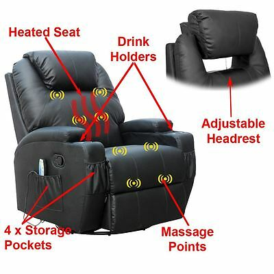 Cinemo Black Leather Recliner Chair Rocking Massage Swivel Heated Gaming Nursing
