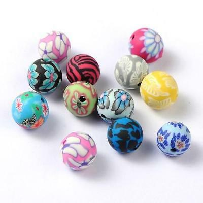 Packet of 20 x Mixed Polymer Clay 10mm Round Beads HA24050