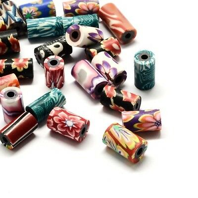 Packet of 20 x Mixed Polymer Clay 7 x 11mm Tube Beads HA24055