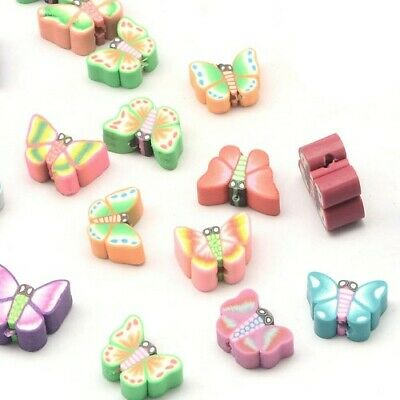 Polymer Clay Butterfly Beads 10 x 12mm Mixed 30 Pcs Art Hobby Jewellery Making