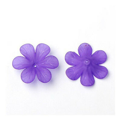 Packet 20 x Violet Lucite 8 x 33mm Flower Beads HA26990