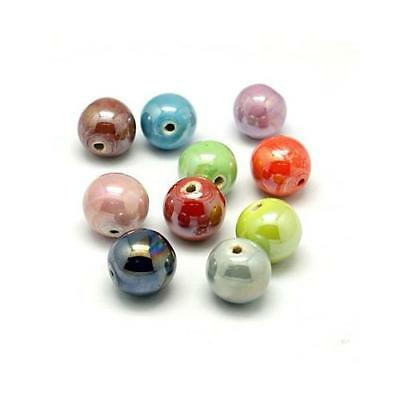 Packet of 10 x Mixed Porcelain 8mm Pearlised Round Beads HA27005