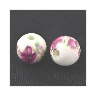 Packet of 10 x White/Violet Porcelain 12mm Round Beads HA27090
