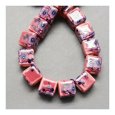 Packet of 10 x Pale Pink/Purple Porcelain 10mm Cube Beads HA27120