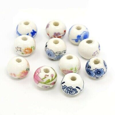 Packet of 10 x White/Mixed Porcelain 12mm Round Beads HA27185