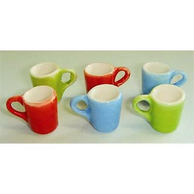6 x Coloured Mugs 1:12 Scale for Dolls House