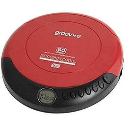 Groov-e GVPS110 Retro Series Personal CD Player With LCD Display Red - New