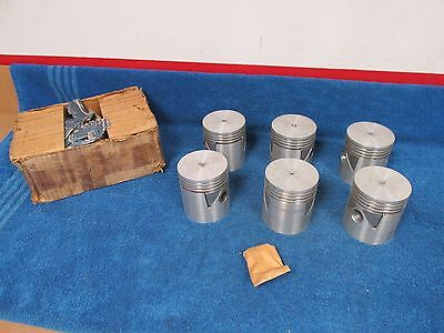 1934-41 Chrysler  .30 Over 4 Ring Aluminum With Pins Pistons  Set Of 6  Nos 416