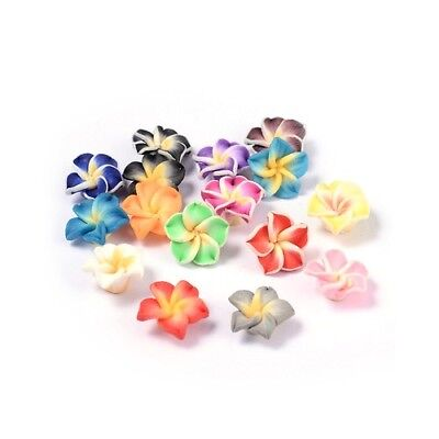 Packet 10 x Mixed Polymer Clay 8 x 12mm Flower Beads HA24260