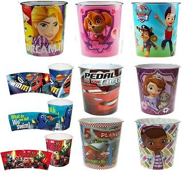 Kids Bin Disney Children Waste Paper Basket Bedroom Rubbish Tidy Room New