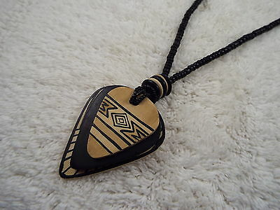 Tribal Wood Bead Pendant Necklace (B26)