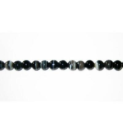 Strand Of 38+ Black Banded Agate 10mm Plain Round Beads GS3374-3