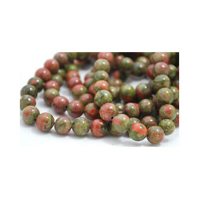 Strand 60+ Green/Orange Unakite 6mm Plain Round Beads GS1599-2