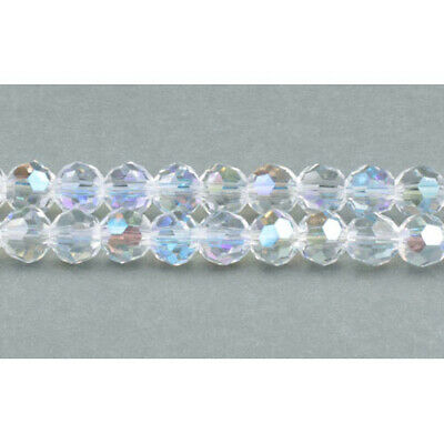 Strand Of 70+  Clear Czech Crystal Glass A.B. 6mm Faceted Round Beads GC3544-2