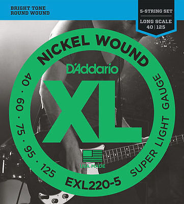 D'Addario EXL220-5 String Super Light Gauge Electric Bass Strings