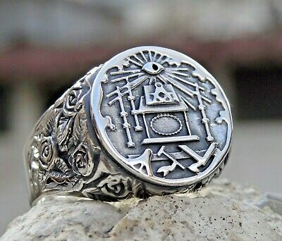 MASONIC STERLING SILVER 925 RING LODGE ACCENT MASONS HANDMADE All Size US: 7-15