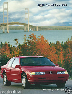 Annual Report - Ford Motor Company - 1988 - Mercury Cougar XR7 cover (AB910)