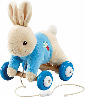 Rainbow Designs PETER RABBIT PLUSH/WOOD PULL ALONG TOY Baby/Toddler Gift - BN