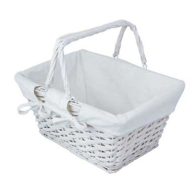 Traditional Wicker Shopping Basket With Lining & Folding Carry Handles White NEW