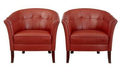 PAIR OF QUALITY 1970's LEATHER LOUNGE ARMCHAIRS