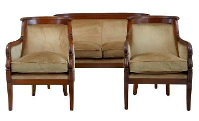 1970's EMPIRE INFLUENCED 3 PIECE MAHOGANY SUITE