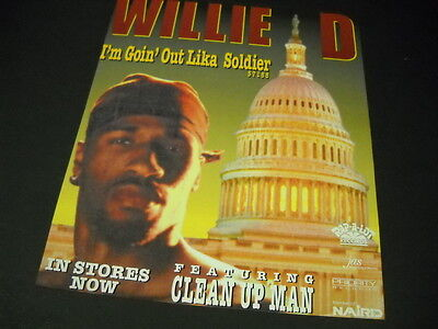 WILLIE D is GOIN' OUT LKE A SOLDIER 1992 Promo Poster Ad mint condition