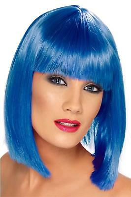 Adult Glamour Glam Shoulder Length Straight Hair with Bang Neon Blue Costume Wig