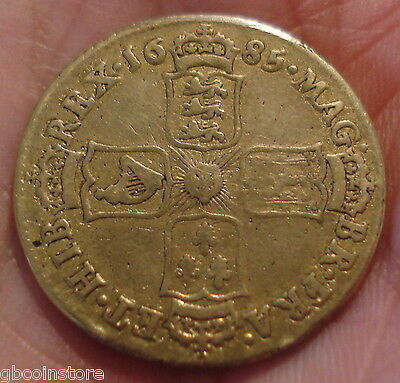 Rare 1685 James Ii Shilling Clear Detail Gilded Coin Spink 3410