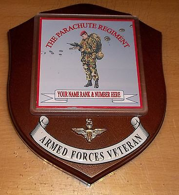 Parachute Regiment Veteran Wall Plaque with name, rank and number