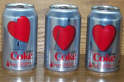 NM 2010 USA LE Coca-Cola DIET COKE HEART TRUTH BOTTOM-DRAINED EMPTY 3-CAN SET