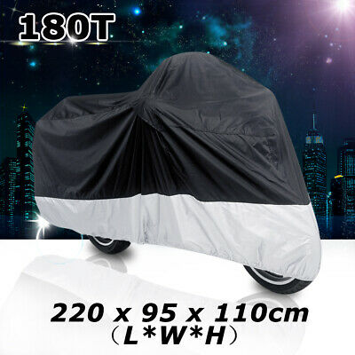 L 180T Black+Silver Motorcycle Bike Scooter Waterproof UV Dust Protector Cover