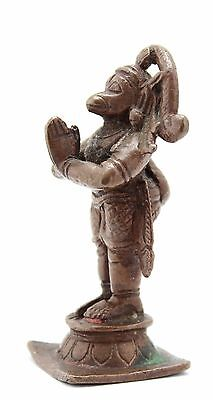 antique ca. 18th C Hindu deity Hanuman, small Indian, cire perdue bronze statue