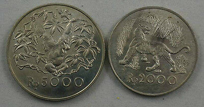 INDONESIA Two Silver UNC Set 1974 Tiger & Orangutan