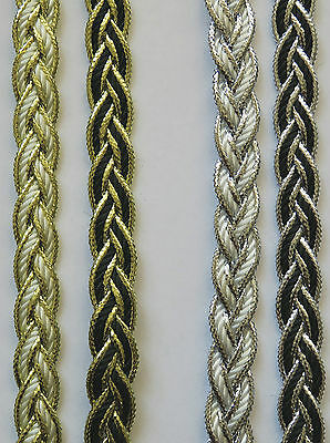 Metallic Plaited Gimp, Upholstery, Braid Trimming 10mm Wide