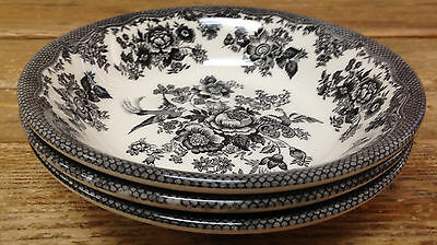 Royal Stafford Asiatic Pheasant Black Bird Toile 3 Coupe Cereal Bowls England