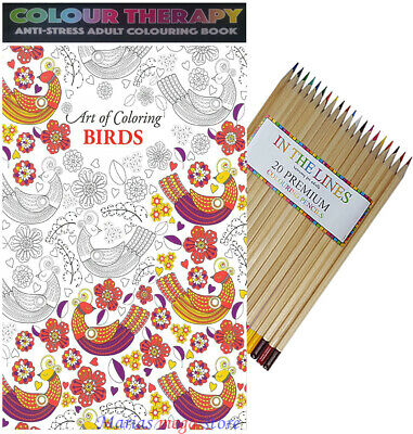 120 Page Adult Anti Stress Colour Therapy Colouring Book + 30 Colouring Pencils