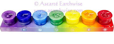 SET OF 7 CHAKRA VOTIVE CANDLES Wicca Witch Pagan MEDITATION HEALING REIKI HEALTH