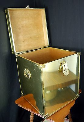RARE Vintage BRASS CHEST w/ MAHOGANY Wood Trunk Footlocker Mid Century Hollywood