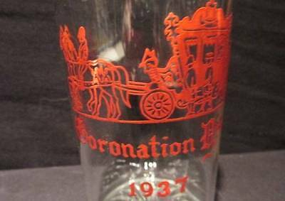 Coronation Year 1937 Unique Glass Tumbler Red Image of Carriage  Edward VIII?