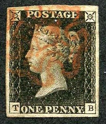 Penny Black (TB) Plate 7 Fine large Four Margins