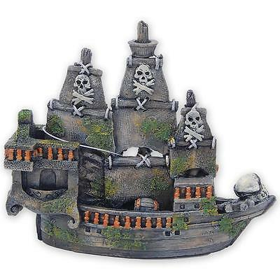 Fish Tank Aquarium Ornament Pirate Ship Boat Galleon Moss Shipwreck - 61675