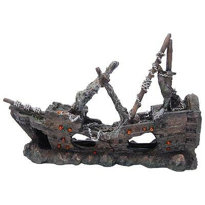 Fish Tank Aquarium Ornament Pirate Ship Boat Galleon Moss Shipwreck - 61788