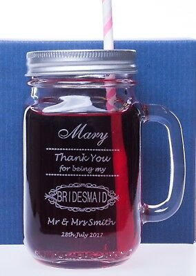 Engraved BRIDESMAID/MAID OF HONOUR Mason Drinking Glass Jar Wedding Gift