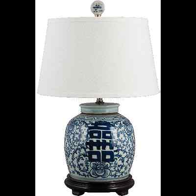 Classic blue and white porcelain oriental table lamp 39 tall ginger classic blue and white porcelain oriental ginger jar lamp happiness aloadofball Image collections