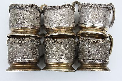 Set of 6, silver tea glass holders, gold plated, filigree, Persia
