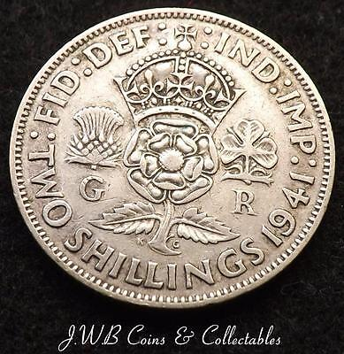 1941 George VI .500 Silver Florin / Two Shillings Coin - Great Britain..