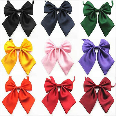 Adjustable Womens Girls Fashion Party Banquet Solid Color Bow Tie Necktie Ties