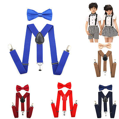 Unisex Suspenders and Bow Tie Set Fits 1-10 Years Old Kids Boys Baby Adjustable