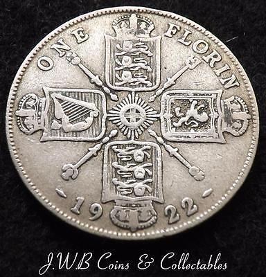 1922 George V .500 Silver Florin / Two Shillings Coin Great Britain.